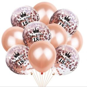 18th Birthday Balloon Decoration Crown Set Romantic Party Package Sequin Rose Gold Latex Bag