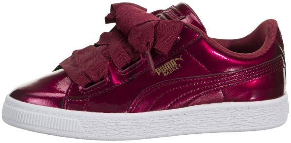 c7b195c765a1 Puma Kids Girls Basket Heart Glam Shoes Tibetan Red