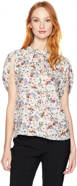 ed9e6444ccd Rebecca Taylor Women s Shortsleeve Ruby Floral Top
