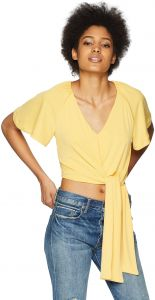 0e837eac C/Meo Collective Women's Recollect Short Sleeve V Neck Tie Front Crop Top,  Honey, S