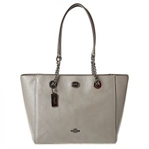 36fb0fe62a0 Coach Grey Polished Pebble Lthr Turnlock Chain Tote 27