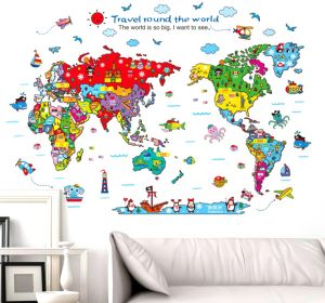 World Map Removable Wall Sticker.Wall Stickers Removable Vinyl Mural Decal Art Home Decor Painting