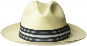 49ecce5f657 Bailey of Hollywood Men s Creel Straw Fedora Trilby Hat with Striped Band