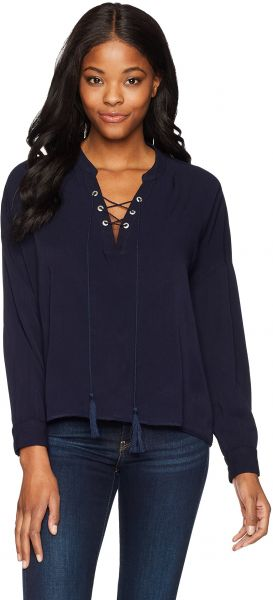 Margaritaville Women s Long Sleeve Relaxed Fit Lace up Everyday Blouse 6a1b72f8f