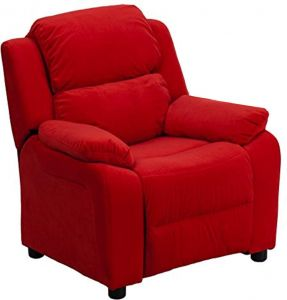 Fabulous Flash Furniture Deluxe Padded Contemporary Red Microfiber Kids Recliner With Storage Arms Pabps2019 Chair Design Images Pabps2019Com