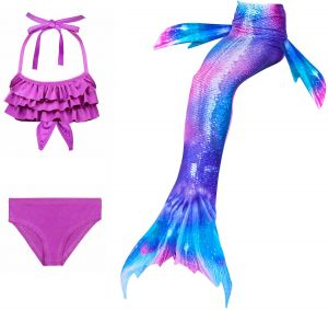 0b3e0dbcb4d 3 Pcs Kids Girls Mermaid Tail Bikini Set Cute Swimming Suit Lovely Children  Baby Mermaid Swimsuit Swimwear Purple