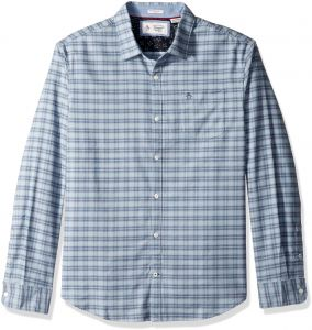 70b93c4c Original Penguin Men's Long Sleeve Mini Plaid Stretch Oxford Shirt, Vintage  Indigo, Medium | KSA | Souq