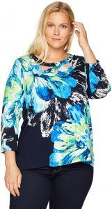 af0f5874a374a Alfred Dunner Women s Plus Size Flowers Tee Shirt