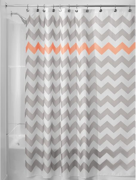 InterDesign Chevron Shower Curtain 72 X Inch Light Gray Coral