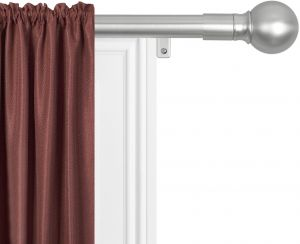 MAYTEX Smart Rods No Measuring Easy Install 1 Window Drapery Curtain Rod With Ball Finial 18 Inch