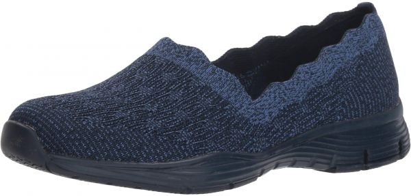 cafa0b9a3ca Skechers Women s Seager-Diamante-Engineered Knit Scallop Collar Slip on  Loafer