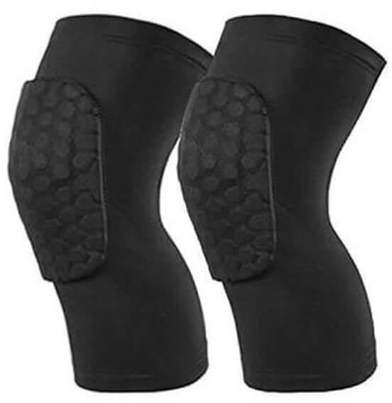 Sports Honeycomb Knee Pads Single Short Leg Sleeves Compression Protective Pad Black-size L