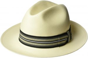 629ef286b5f Bailey of Hollywood Men s Creel Straw Fedora Trilby Hat with Striped Band