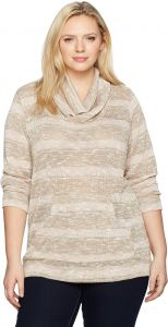 b90f7841b58ce4 Ruby Rd. Women s Plus Size Cowl-Neck Metallic Stripe Jersey Pullover with  Pouch Pockets