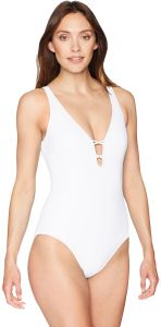 2074a403e8eec Profile by Gottex Women's Macrame Back Solid Deep V-Neck One Piece ...