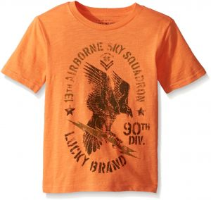 new concept 22eda 1dd1f Lucky Brand Little Boys  Short Sleeve Graphic Tee Shirt, Golden Poppy  Eagle, 7