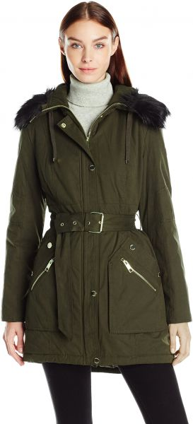 3c90be8d6944 GUESS Women s Cotton Anorak Belted Parka with Faux Fur Trim Hood ...