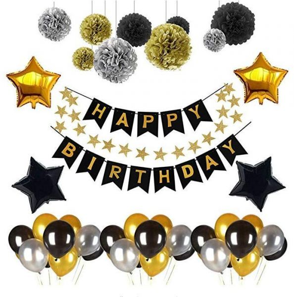 Black And Gold Party Decorations90Pcs Happy Birthday Banner Star
