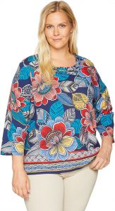 a33d24bd451 Alfred Dunner Women s Plus Size Ethnic Floral Border Tee Shirt