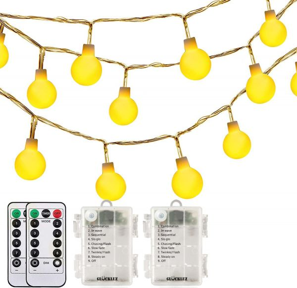 Globe String Lights Warm White Fairy Lighting Decoration Light with Remote Control Home Decetor Lamp for Home Party Birthday Garden Festival Wedding Indoor Outdoor (2 Packs, 30 LEDs, Battery Operated)