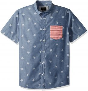 0a361e209 قميص رجالي من Quiksilver و4 يوليو منسوج - 4th July Shirt Woven Large Used  Blue 4th July
