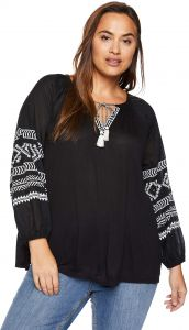 a556fceb7 قميص حريمي من Lucky Brand مزخرف بمقاس كبير ومطبوع، - Plus Size Embroidered  Print Peasant Top 1X