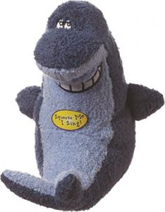 Multipet Deedle Dude Singing Shark Plush Dog Toy 8 Inch Blue