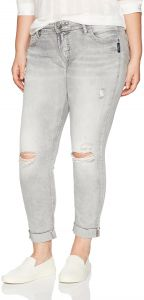 c3807e9d Silver Jeans Women's Plus Size Co Girlfriend Relaxed Skinny, Gray  Distressed, 24