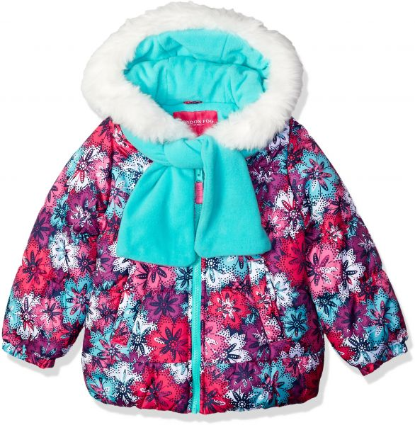 44410c70c London Fog Little Girls  Puffer Jacket with Scarf and Hat