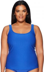 8c0aae47e01 Maxine Of Hollywood Women's Plus Size Solid Scoop Neck Tankini Swimsuit Top,  Cobalt, 16W