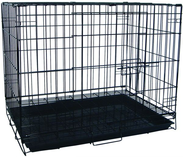 Yml 30 Inch Foldable Light Duty Door Dog Crate With Wire Bottom Grate And Plastic Tray Black