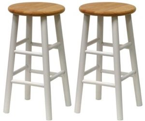 Pleasant Winsome Wood S 2 Beveled Seat 24 Inch Counter Stools Nat Wht Gamerscity Chair Design For Home Gamerscityorg