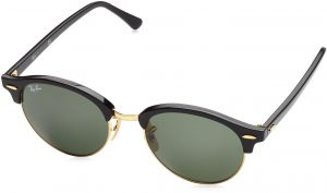 61f606e0dec Ray-Ban Clubround RB4246 51 Non Polarized Sunglasses Black Frame Green  Lenses 51mm