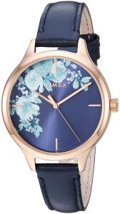 dd5877029 Timex Women s TW2R66700 Crystal Bloom Blue Rose Gold Floral Accent Leather  Strap Watch