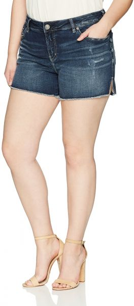 623f96216e8 Silver Jeans Co. Women s Plus Size Elyse Relaxed Fit Mid Rise Shorts ...