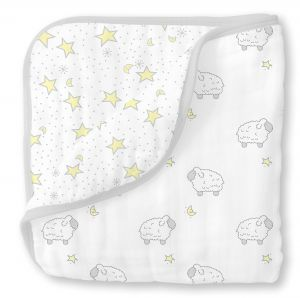 SwaddleDesigns 4-Layer Cotton Muslin Luxe Blanket, Cuddle and Dream,  Sterling Little Lambs f0052488cb