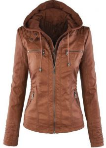 a5c232f3c brown color Women Faux leather Jacket zipper coat with Detachable Hooded hat