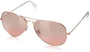 593b2cfa32 Ray-Ban AVIATOR LARGE METAL - GOLD Frame CRYS.BROWN-PINK SILVER MIRROR  Lenses 62mm Non-Polarized