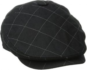 7132cfd3954d9a San Diego Hat Co. Men's Quilted Driver Hat with Faux Leather Under Brim  Self Button, Black, One Size