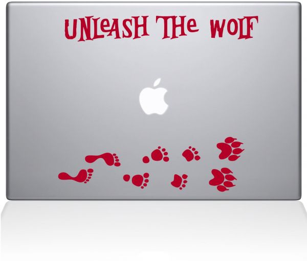 "The Decal Guru Unleash The Werewolf Macbook Decal Vinyl Sticker  - 13"" Macbook Pro ‫(2015 & older) - Red ‫(1243-MAC-13P-DR)"