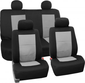 Awesome Fh Group Fb085Gray114 Seat Cover Neoprene Blend Waterproof Seat Covers Full Set With Bench Gray Machost Co Dining Chair Design Ideas Machostcouk