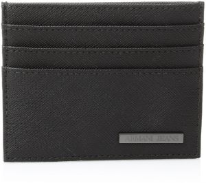 4d63eeca64eb Armani Jeans Men s Saffiano Embossed Credit Card Holder