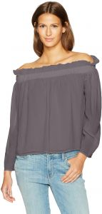 969bf5b06ccf7 Lucca Couture Women's Long Sleeve Cold Shoulder Ruffle Top, Grey, Medium