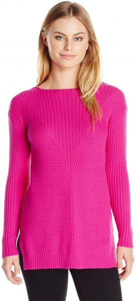 Vince Camuto Women s Size Long Sleeve Ribbed V Textured Sweater 3aecb3b18