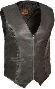 Milwaukee Womens Braided Leather Snap Front Vest Black, XXX-Large