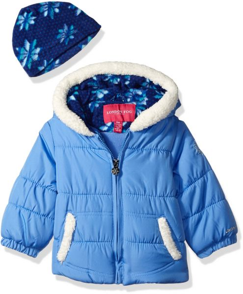 e783252f4 London Fog Baby Girls Puffer Jacket with Scarf and Hat