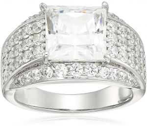 2aa6406ba Platinum Plated Sterling Silver Swarovski Zirconia Round and Princess Cut  Pave Ring, Size 8