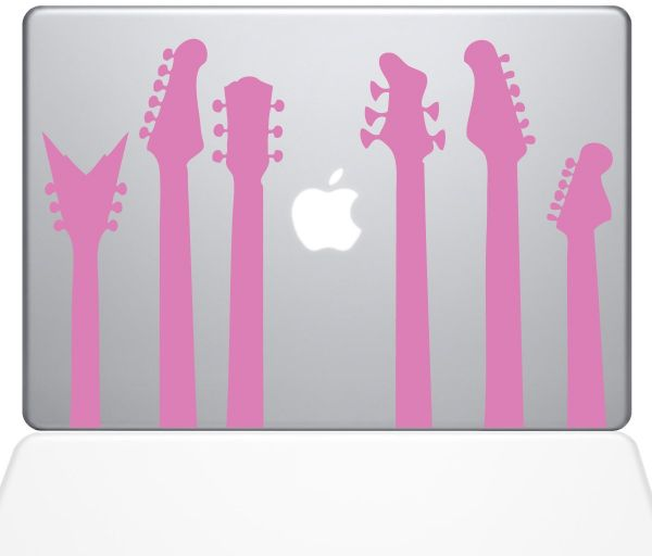 "The Decal Guru 1416-MAC-13P-BG Guitar Band MacBook Decal Vinyl Sticker, 13"" MacBook Pro ‫(2015 & Older), Pink"