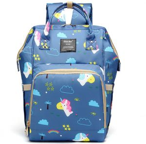 6a769e88752 Shen Bei Diaper bag Mummy Bag Baby Travel Backpack Bag Large Waterproof Bag  Blue Multi Color With Cartoon Pattern
