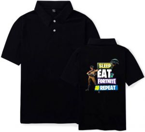 90de4566 Personality casual Fortnite games men and women summer cotton T-shirt short  sleeve high neck size M,black